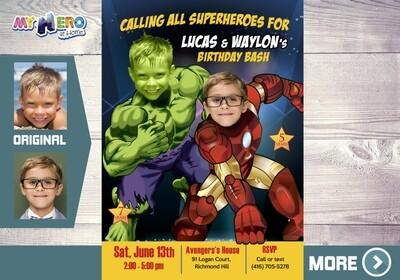 Hulk and Iron Man Invitation. Ironman and Hulk Party. Avengers Siblings Party. Avengers Birthday Ideas. Joint Avengers party ideas. 094