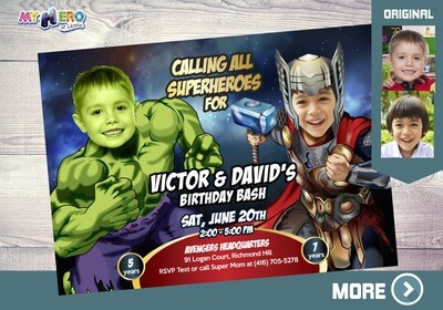 Thor and Hulk Birthday Invitation, Hulk and Thor Party Invitation, Joint Avengers Party, Siblings Avengers Party, Hulk & Thor Birthday, 156