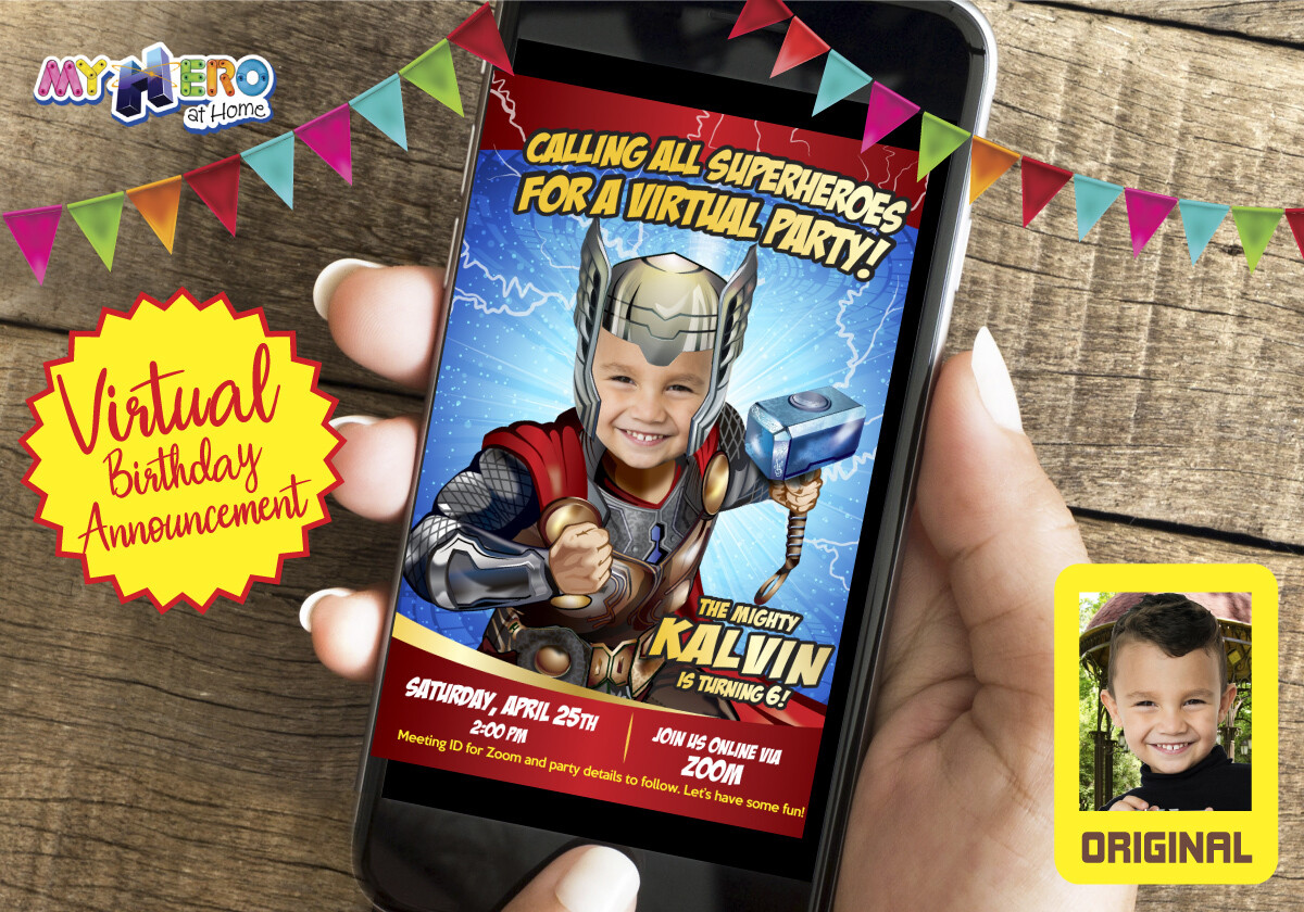 Thor Virtual Invitation. Thor Birthday Reminder. Thor Virtual Party. Thor Custom Poster. Avengers Virtual Invitation. Avengers Quarantine party. 154CV