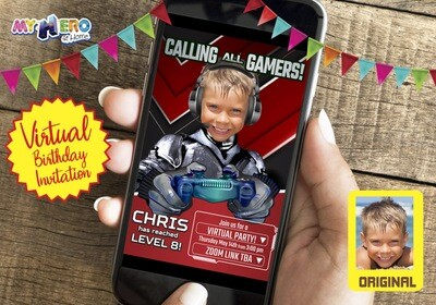 Video Gamer Virtual Birthday Invitation, Gamer Birthday Invitation, Game On Party, Calling all Gamers Party, Video Games Party. 433CV