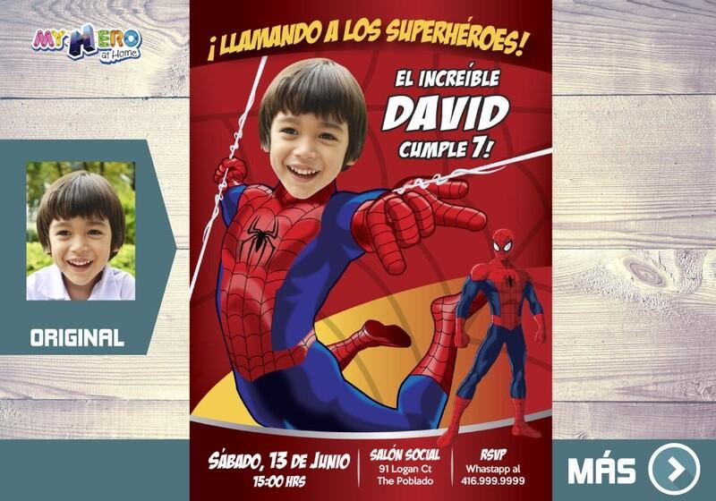 Invitación de Hombre Araña, Cumpleaños Spiderman, Ideas Fiesta tema Spiderman, Fiesta tema Hombre Araña, Spiderman Invitación. 135SP