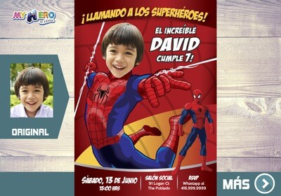 Invitación de Hombre Araña, Cumpleaños Spiderman, Ideas Fiesta tema Spiderman, Fiesta tema Hombre Araña, Spiderman Invitación, 135