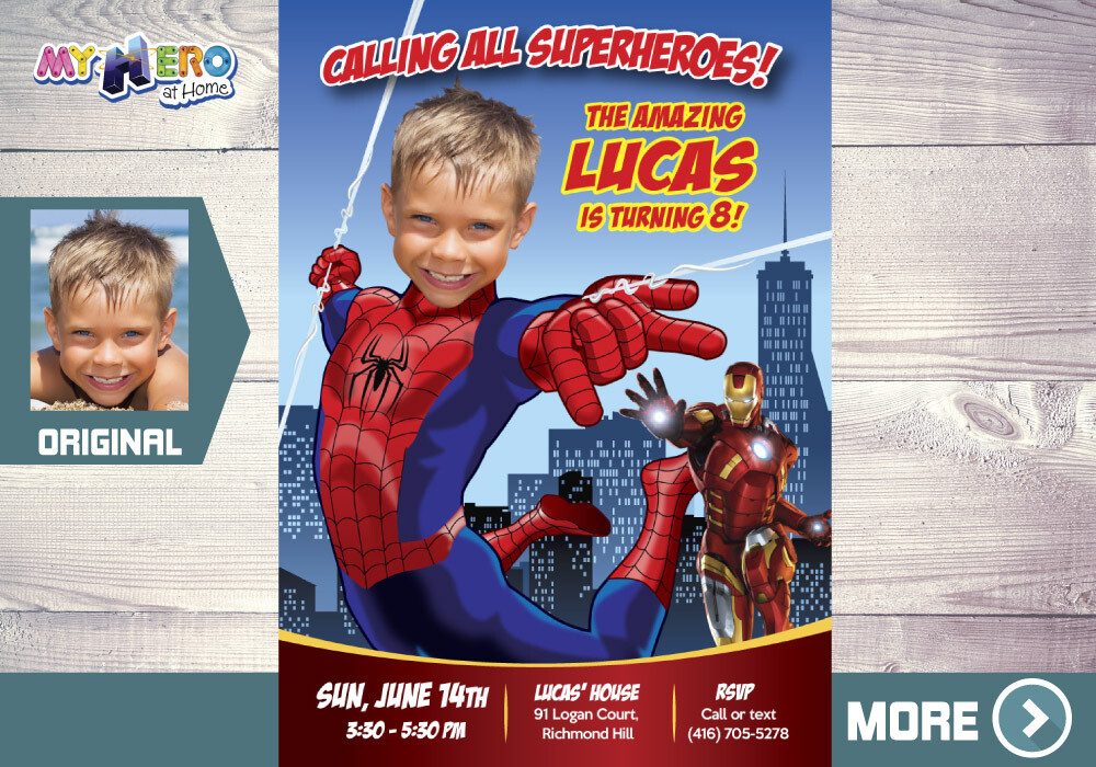 Spider-Man Birthday Invitation, Spider-Man Party, Spider-man theme Party, Invitación de Hombre Araña, Spider-Man Invitation, 137
