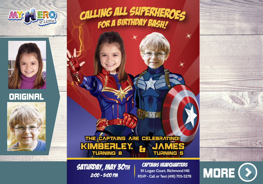Captain Marvel and Captain America Birthday Invitation, Superheroes Siblings Party, Joint Captain America and Captain Marvel Party. 236