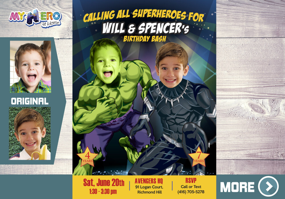 Black Panther and Hulk Birthday Invitation, Hulk and Black Panther Party, Joint Avengers Party, Siblings Avengers theme Party. 437