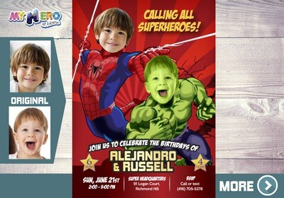 Hulk and Spider Man Birthday Invitation. Spider man and Hulk Siblings Party. Joint Avengers Party.  Joint Avengers Theme party. 438