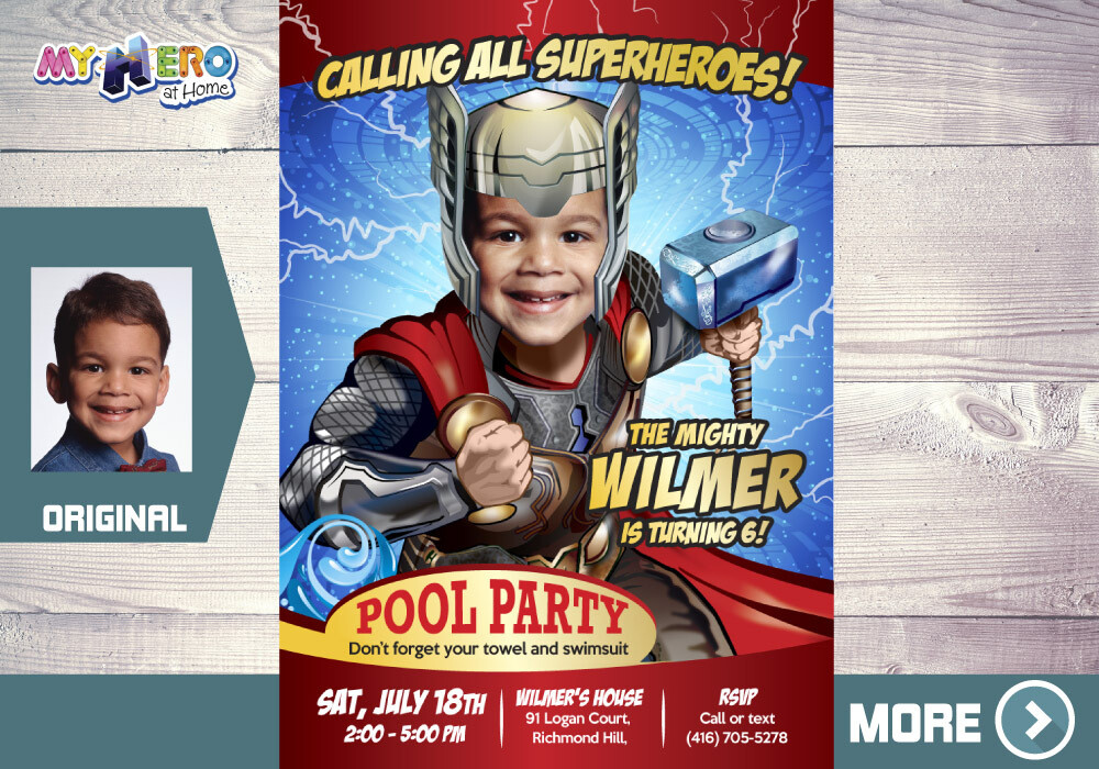 Thor Pool Party Invitation, Pool party Avengers invitation, Thor Pool Party Birthday, Avengers Pool Party Invitation, Thor Splash Party, 350