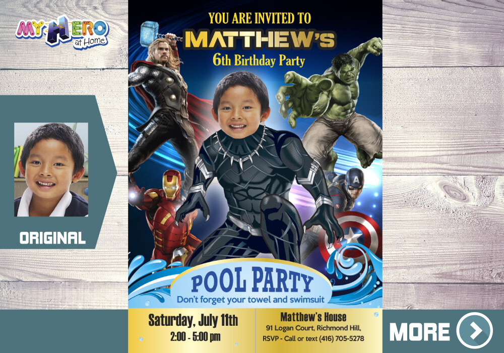 Black Panther Pool Party Invitation, Black Panther Pool Party Birthday, Black Panther Theme Pool Party, Avengers Pool Party. 174