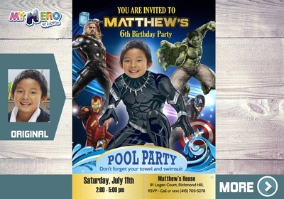Black Panther Pool Party Invitation. Black Panther Pool Party Ideas. Black Panther Theme Pool Party. Avengers Pool Party Ideas. 174