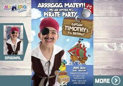 Pirate Photo Invitation. Pirate theme Party. Custom Pirate Birthday. My own Pirate Party Invitation. 439