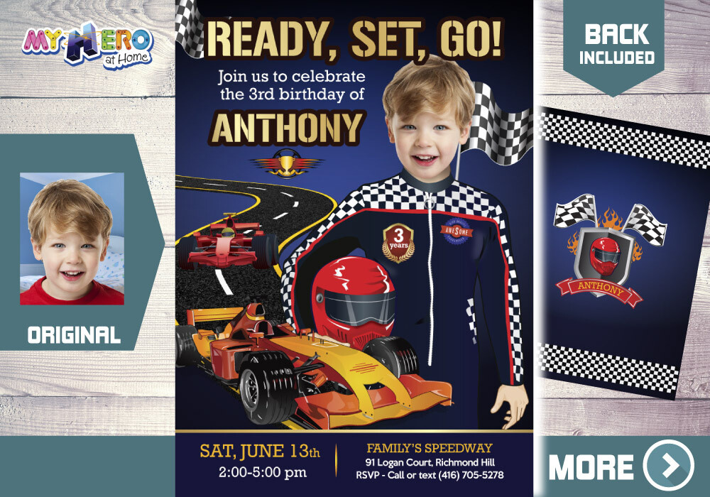 Race Car Birthday Invitation, Race Car Digital Invitation, Sports Car Birthday, Race Car Virtual, Race Car Birthday parade. 440