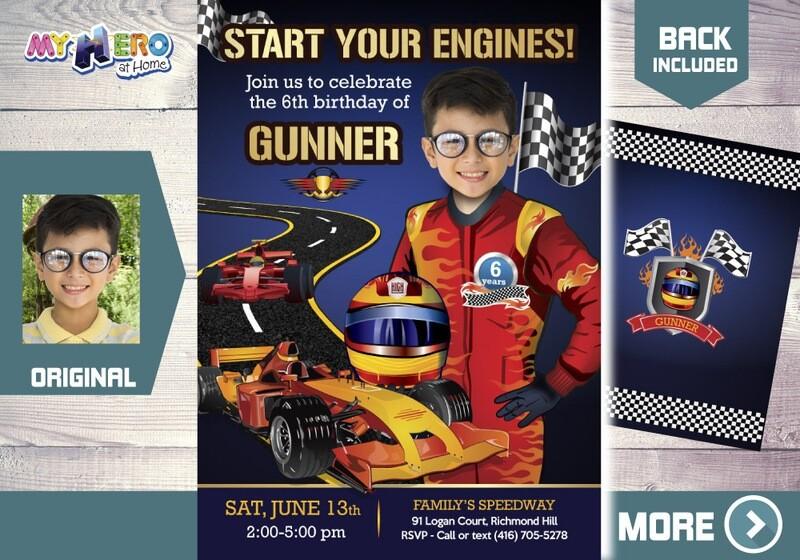 Race Car Birthday. Racecar Driver Party Invitation. Race Car Photo Invitation. Hot Wheels Party. Race Car Theme party. 441