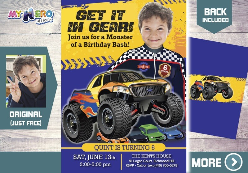 Monster Truck Birthday, Monster Truck Party Invitation, Monster Truck Photo Invitation, Monster Truck theme party, Get it in gear. 442