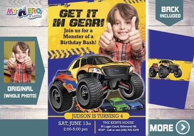 Monster Truck Birthday. Monster Truck Party Invitation. Monster Truck Photo Invitation. 442B