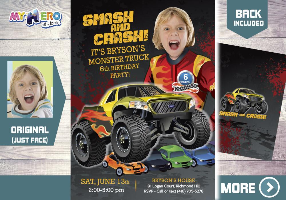 Monster Truck Party Invitation, Monster Truck Birthday Invitation, Monster Truck theme party, Monster Truck Digital Invitation. 443