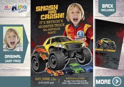 Monster Truck Party Invitation. Monster Truck Photo Invitation. Monster Truck theme party. Monster Truck Birthday. Smash and Crash. 443
