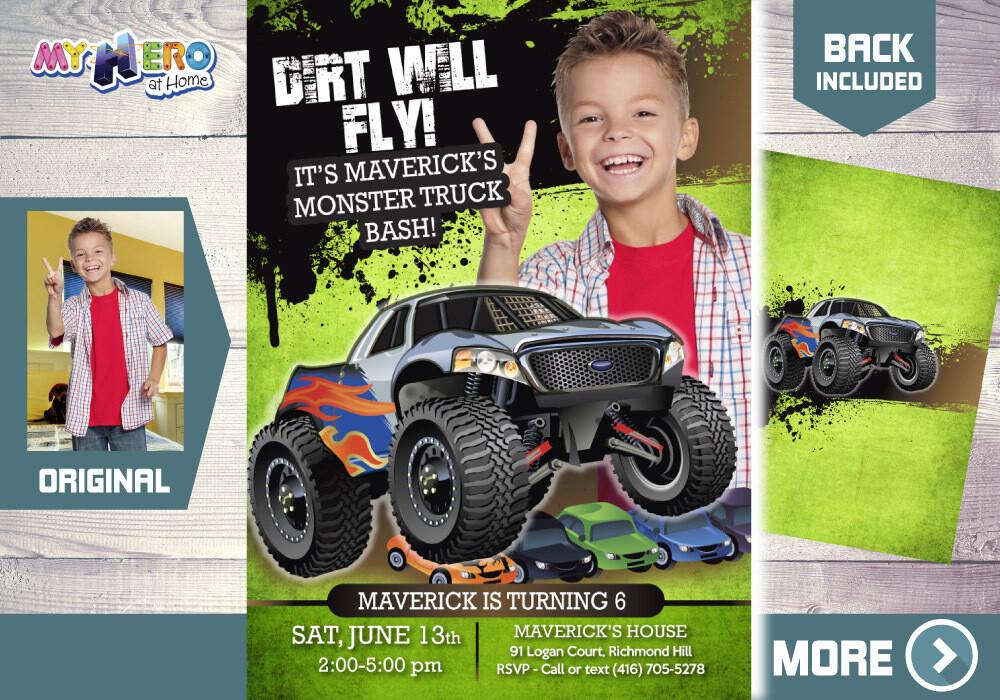 Monster Truck Photo Invitation, Monster Truck theme party, Monster Truck Birthday, Monster Truck Bash, Monster Truck Digital Invitation, 444