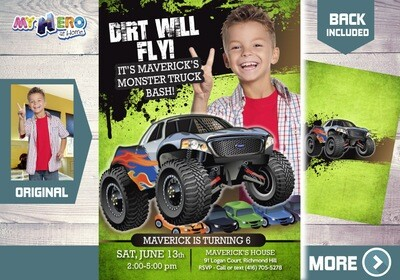Monster Truck Photo Invitation. Monster Truck theme party. Monster Truck Birthday. Monster Truck Bash. Monster Truck Party Invitation. 444