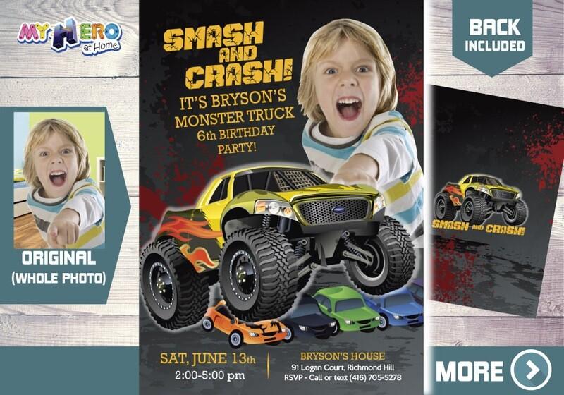 Monster Truck Party Invitation. Monster Truck Photo Invitation. Monster Truck theme party. Monster Truck Birthday. Smash and Crash. 443B