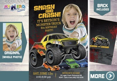 Monster Truck Party Invitation. Monster Truck Photo Invitation. Monster Truck theme party. Monster Truck Birthday. Smash and Crash. 443B