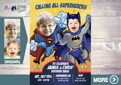 Joint Batman and Superman Invitation. Superman and Batman Joint Party. Joint Superheroes Party. Batman and Superman Birthday Invitation. 446