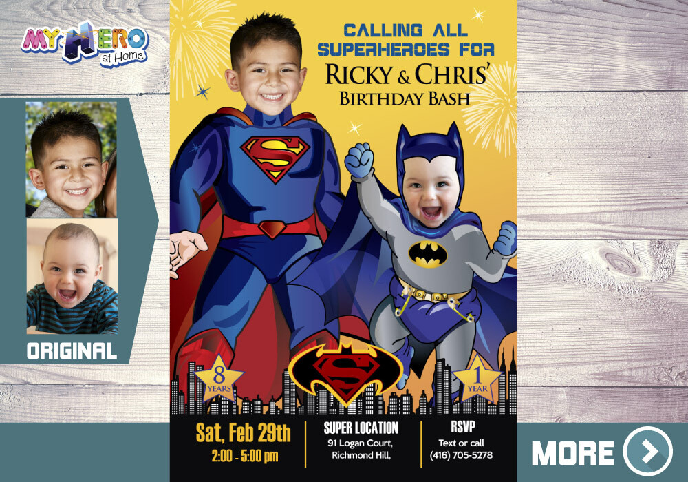 Superman and Batman Birthday Invitation. Joint Batman and Superman Invitation. Superman vs Batman Joint Party. Joint Superheroes Party. 445