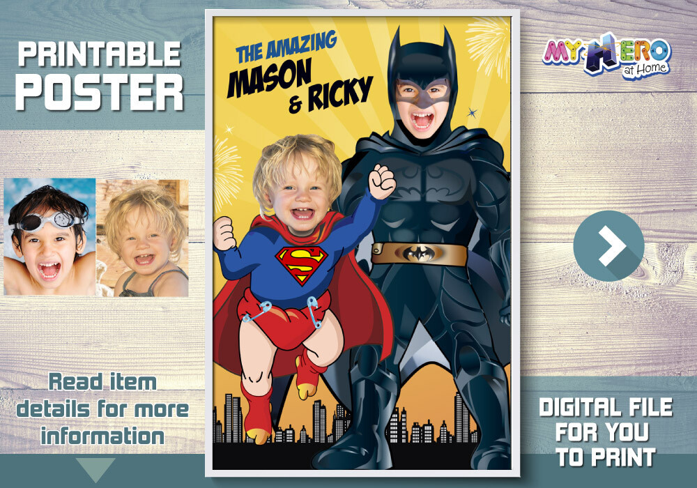 Superman and Batman poster, Super Siblings Poster, Joint Superheroes Poster, Batman and Baby Superman Poster, Super Brothers poster. 447
