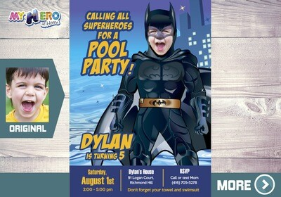 Batman Pool Party Invitation. Batman Pool Party Ideas. Batman Waterslide Party. 355