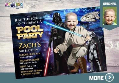 Star Wars Pool Party Invitation. Pool Party themed Star Wars. Jedi Pool Party. Star Wars Party. Star Wars Splash. Star Wars Barbecue. 016