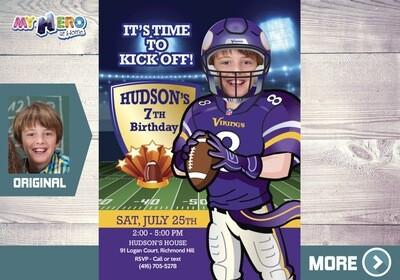 Minnesota Vikings Party. American Football Birthday. American Football Party. Minnesota Vikings Birthday Invitation. 448