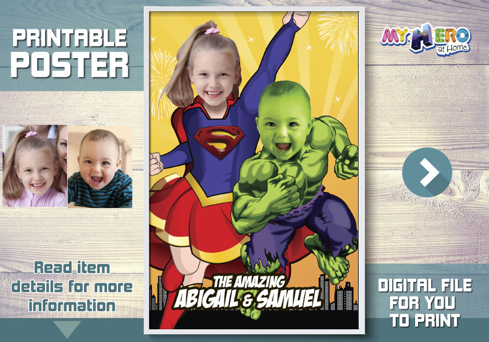 Supergirl and Baby Hulk poster. Super Siblings Poster. Custom Superheroes Poster. Hulk and Supergirl Poster. Joint Superheroes poster. 449