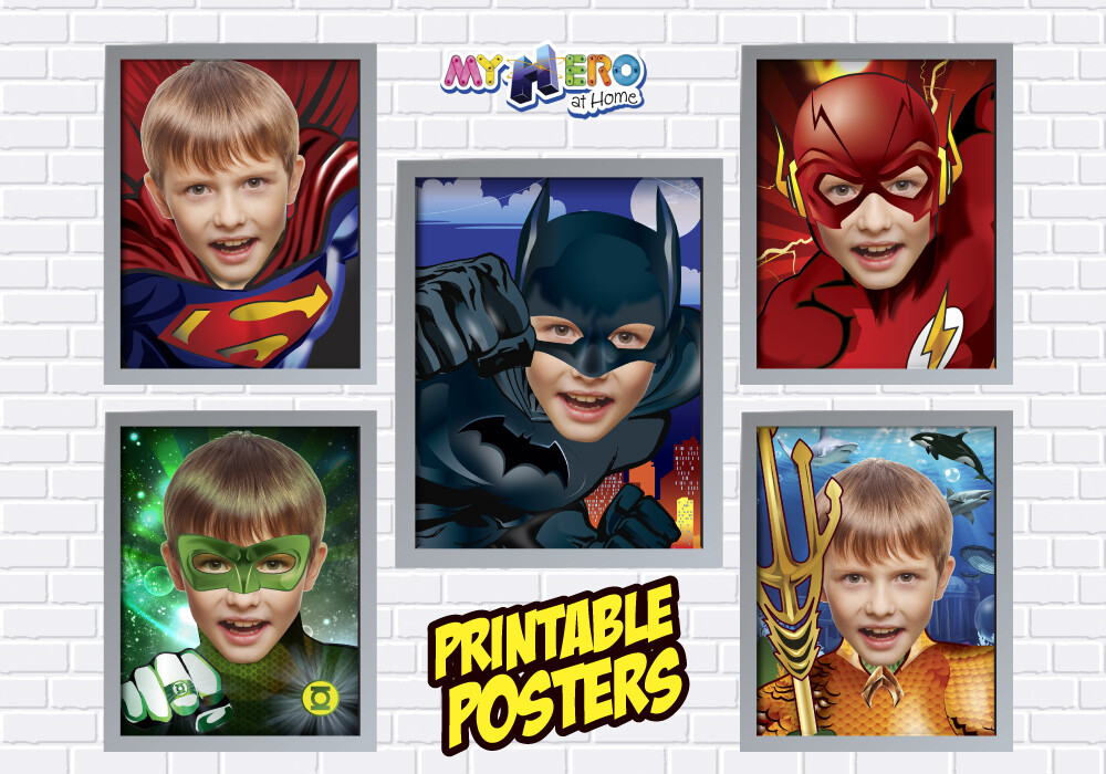 Posters of Superman, Batman, Aquaman, Flash and Green Lantern. Superheroes Wall Decor, Justice league Gifts. 411C