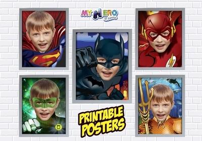Posters of Superman, Batman, Aquaman, Flash and Green Lantern. Superheroes Wall Decor, Justice league Gifts. 411C