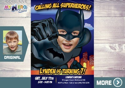 Batman Invitation. Turn your boy into Batman for his Superhero Invitation. Batman Party. Batman Birthday. Invitación de Batman. 451