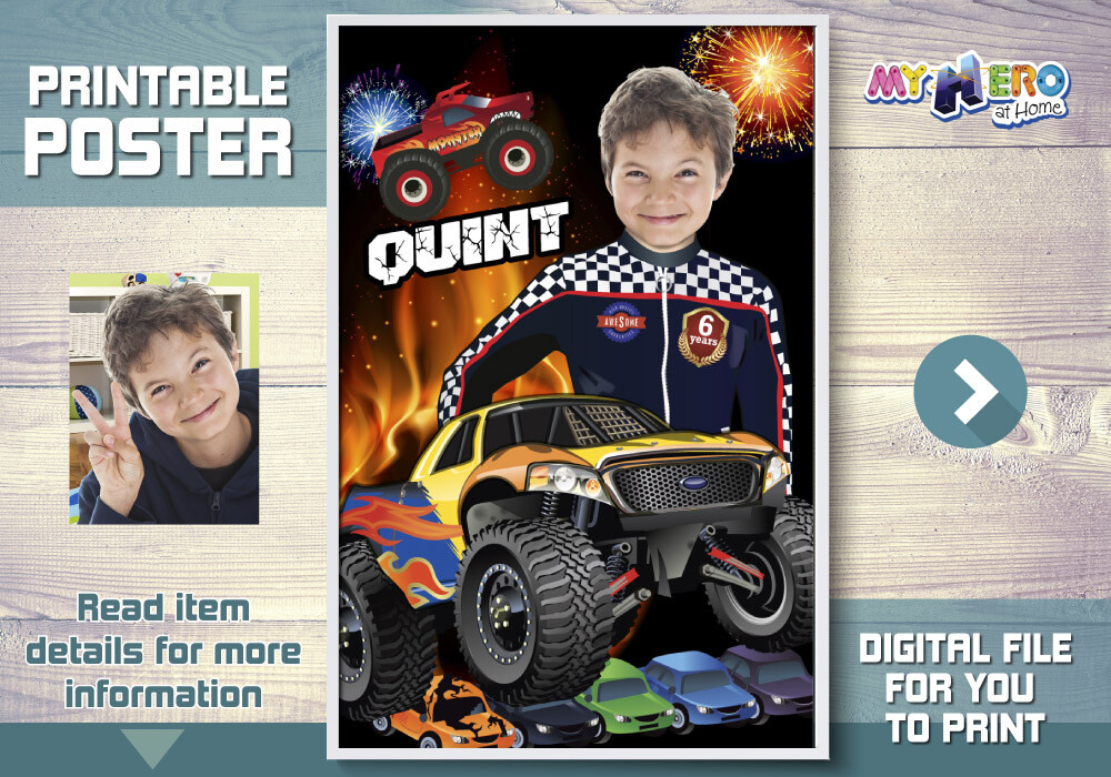 Monster Truck Poster, Monster Truck Decor, Monster Jam Poster, Monster Truck Room Decor, Monster Truck Gifts, Monster Truck Wall. 452