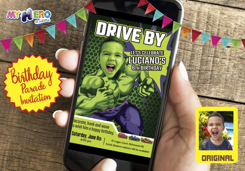 Hulk Drive By Birthday, Hulk Drive-By Invitation, Hulk Drive-By Party, Hulk Birthday Parade, Hulk Driveway Party. 089DB