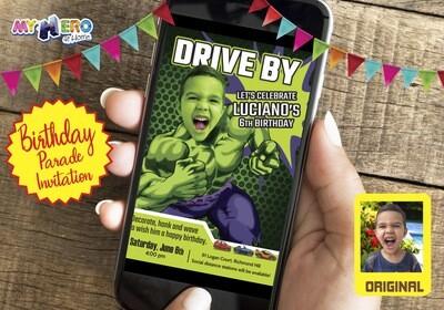 Hulk Drive By Birthday. Hulk Drive-By Invitation. Hulk Drive-By Party. Hulk Birthday Parade. Hulk Driveway Party. 089DB