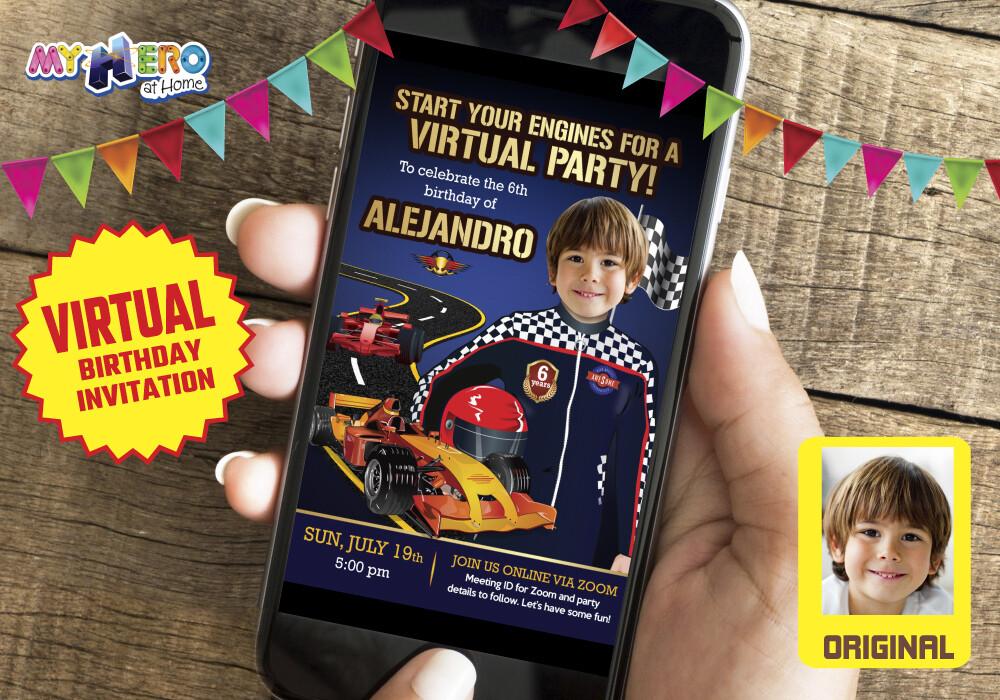 Race Car Virtual Party Invitation, Race Car Virtual Birthday, Race Car Drive-By Party, Race Car Online, Race Car Birthday Parade. 318CV
