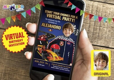 Race Car Virtual Party Invitation, Race Car Virtual Birthday, Race Car Drive-By Party, Race Car Online, Race Car Birthday Parade. 318CV