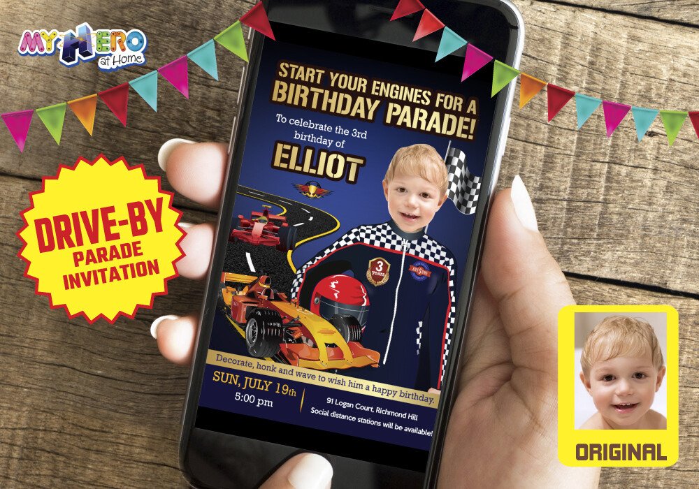 Race Car Drive-By Party, Race Car Birthday Parade, Race Car Virtual Invitation, Race Car Digital Invitation, Race Car Party Parade. 318DB
