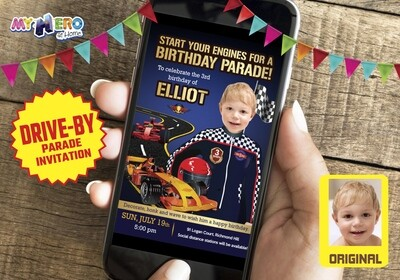 Race Car Drive-By Party. Race Car Birthday Parade. Race Car Virtual Invitation. Race Car Digital Invitation. Race Car Party Parade. 318DB