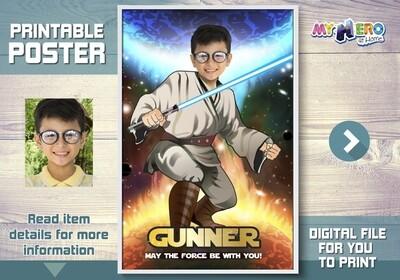 Star Wars Poster, Star Wars Backdrop, Star Wars Wall Decal, Custom Jedi Poster, Star Wars Art Poster, Jedi Fans Ideas, Jedi Party Decor. 357