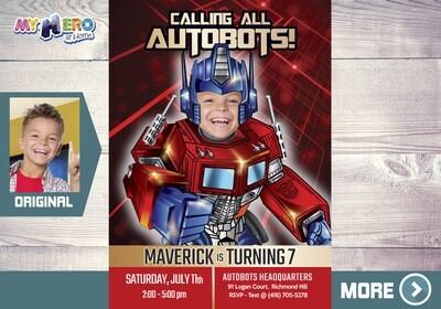 Optimus Prime Birthday Invitation, Autobots Theme Party, Transformers Birthday Invitation, Transformers Digital Invitation. 454