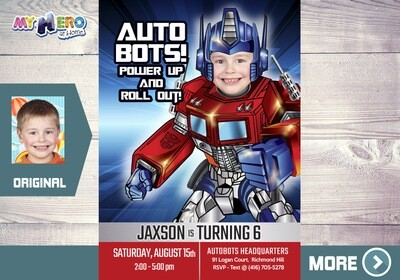 Optimus Prime Party Invitation. Transformers Theme Party. Autobots Birthday Invitation. 455