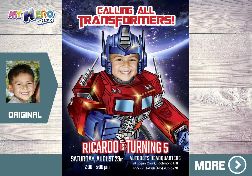 Transformers Birthday Invitation, Optimus Prime Party Invitation, Autobots Digital Invitation, Optimus Prime theme party. 456