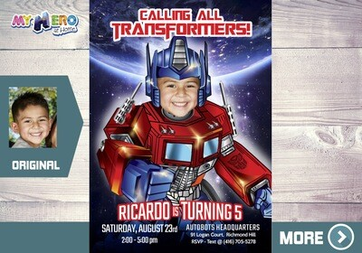 Transformers Birthday Invitation. Transformers Theme Party. Autobots Party Ideas. 456