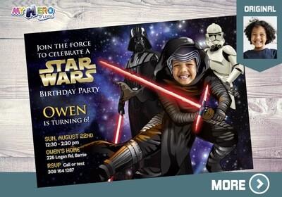 Kylo Ren Birthday Invitation. Kylo Ren Party Invitation. Dark Side Party Invitation. Kylo Ren Theme Party.  011