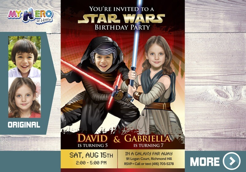 Joint Star Wars Invitation. Star Wars Siblings Invitation. Kylo Ren and Jedi Rey Party. Jedi Rey and Kylo Ren Birthday Invitation. 459