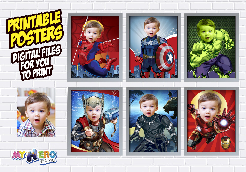 Avengers Posters of Hulk, Spider-Man, Iron Man, Thor, Captain America and Black Panther, Avengers Nursery Decor, Baby Avengers Gifts. 460