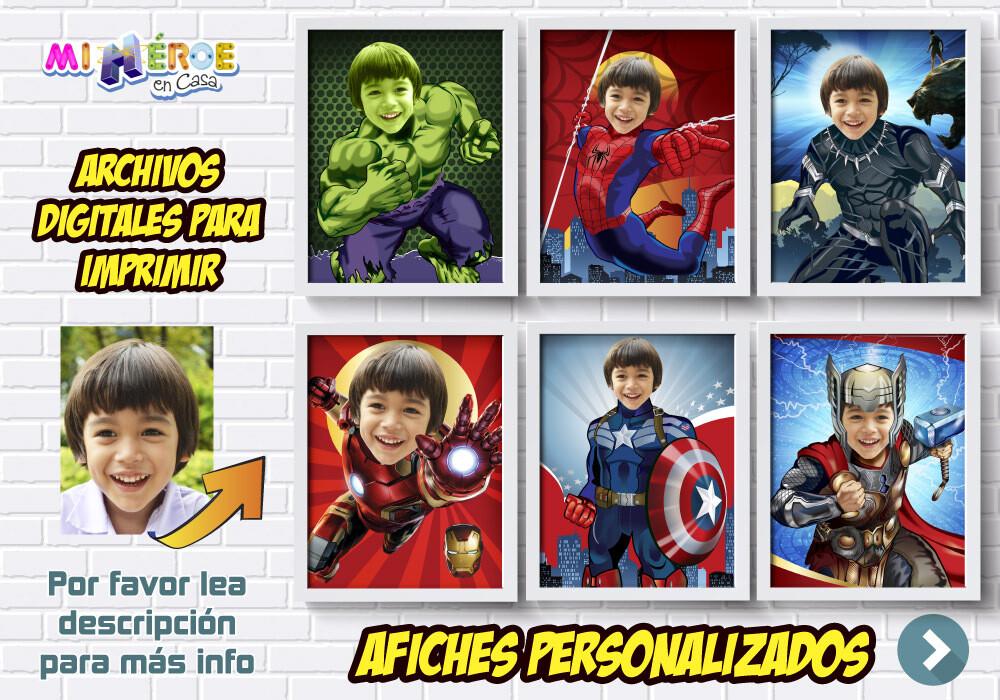 Afiches de Avengers, Afiches Personalizados de Hulk, Spiderman, Capitán América, Thor, Iron Man y Pantera Negra, Decoración Avengers. 412SP